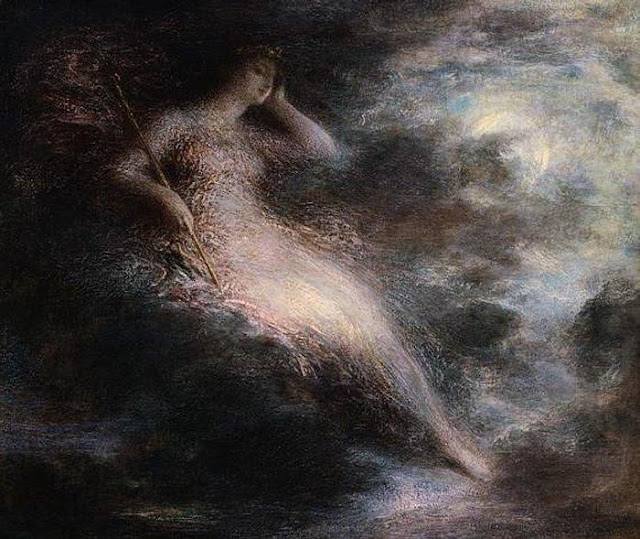 Painting by Henri Fantin-Latour,Landscape oil painting,figurative painting,moon in painting