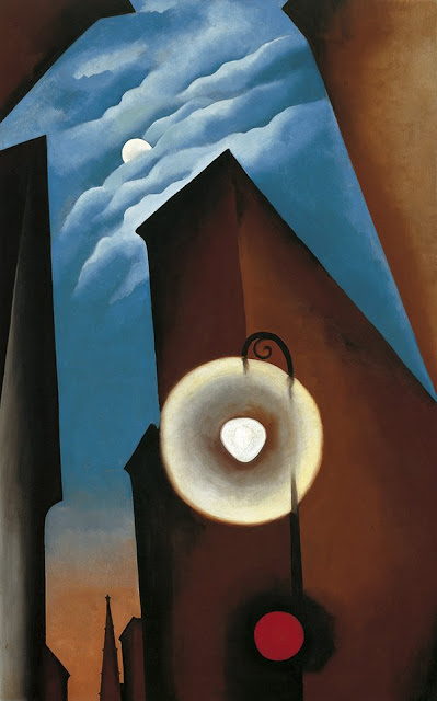 Georgia O'Keeffe,Landscape oil painting,figurative painting,moon in painting