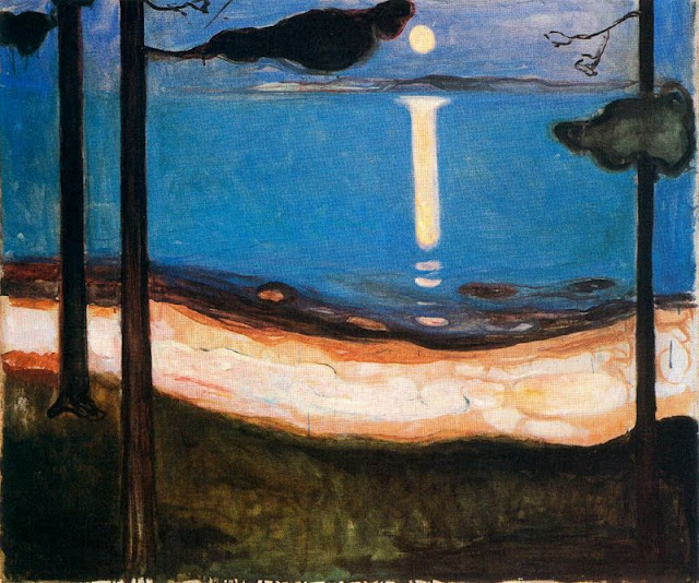 Painting by Edvard Munch,Landscape oil painting,figurative painting,moon in painting