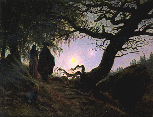 Painting by Caspar David Friedrich, Man and Woman Contemplating the Moon,Landscape oil painting