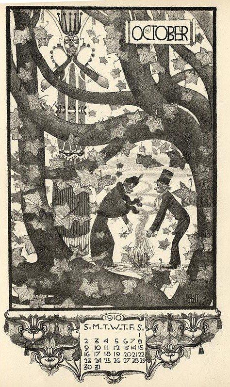 Arcadian Calendar for 1910,Vernon Hill's Illustration