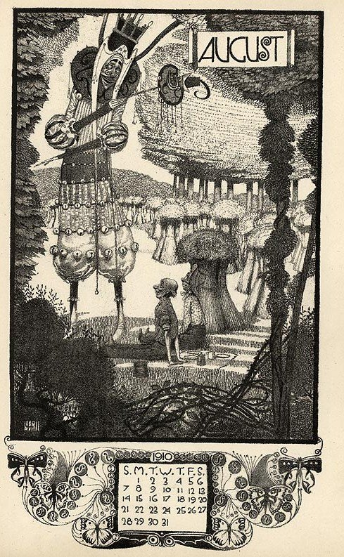 Graphics by Vernon Hill, Arcadian Calendar for 1910