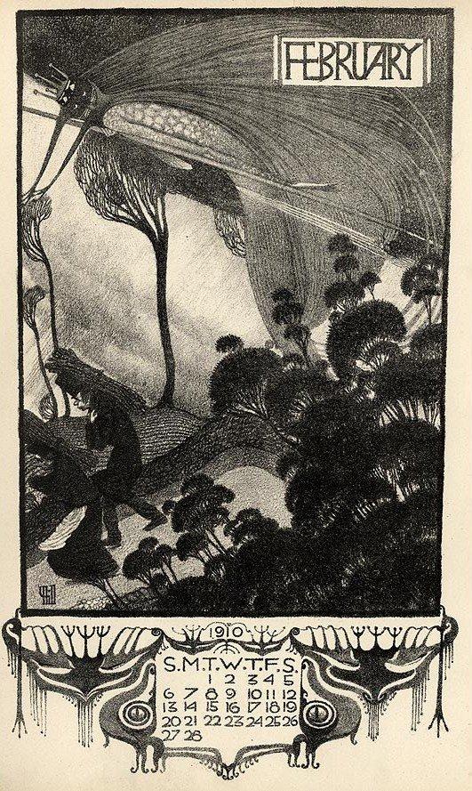 Illustration by Vernon Hill, Arcadian Calendar for 1910