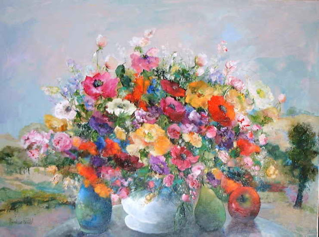 Maurille Prevost. French painter, french artist of 20th century, Two Bouquets
