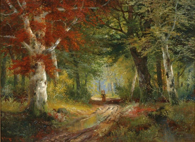 Alois Arnegger's oil painting. Gathering Wood