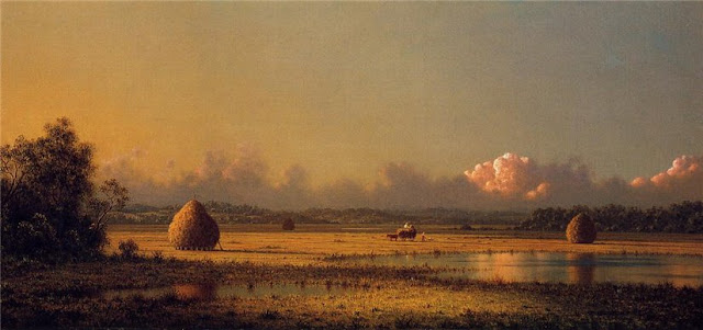 Martin Johnson Heade. Hayfields: A Clear Day,Summer Day in the Countryside. Summer Themed Oil Paintings