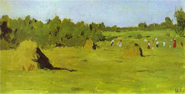 Isaac Levitan. Haymaking Time,Summer Day in the Countryside. Summer Themed Oil Paintings