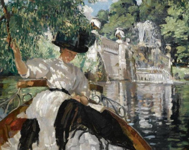 Philipp Connard. Bayswater on the Serpentine, Summer Themed Oil Paintings