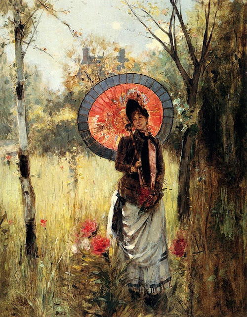 Summer Themed Oil Paintings, Albert Lynch. A Summer Stroll