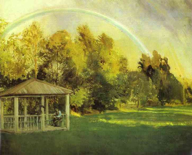 Summer Day in the Countryside. Summer Themed Oil Paintings, Konstantin Somov. Landscape with Rainbow