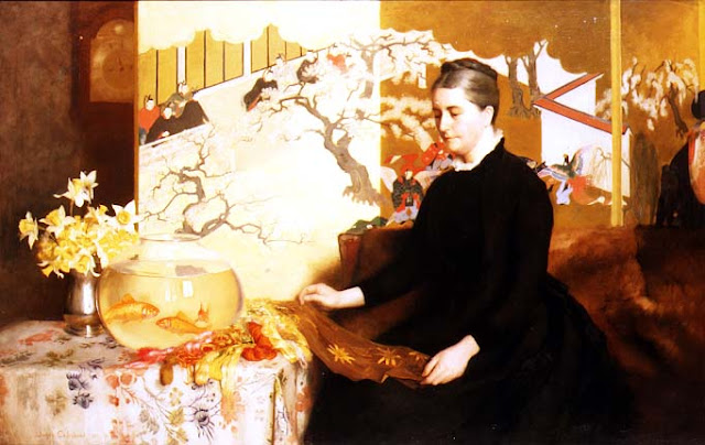 Goldfish in Painting,James Cadenhead. Lady With Japanese Screen and Goldfish