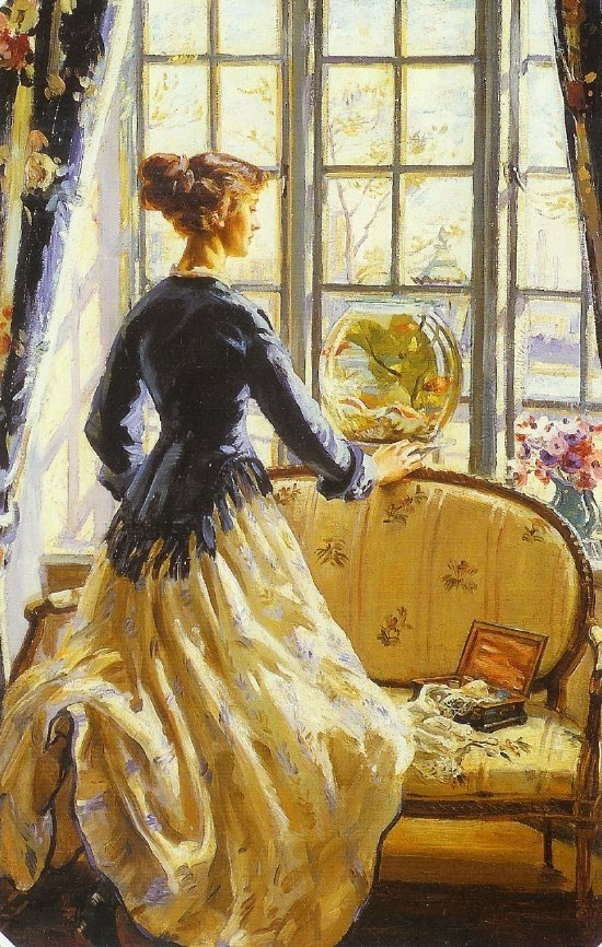 Wilfred de Glehn painting, Goldfish in Painting, the goldfish bowl