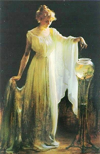 Charles Courtney Curran Paintings,Goldfish in Painting