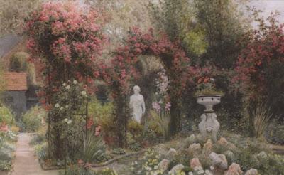 Arthur Claude Strachan. A Statue in a Romantic Garden