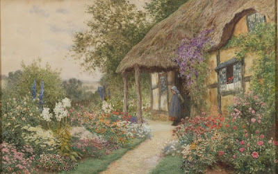 Arthur Claude Strachan. A+Young Girl in a Cottage Garden. Watercolor