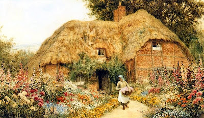 Arthur Claude Strachan. Woman before a Cottage