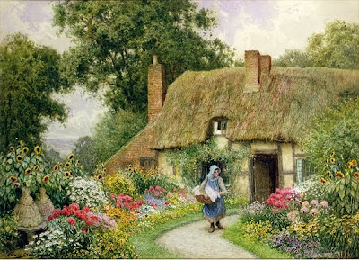Arthur Claude Strachan. Taking out Washing. Watercolor