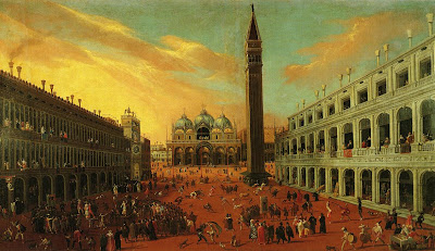 Joseph Heintz the Younger. Piazza San Marco at Carnival Time. Oil Painting