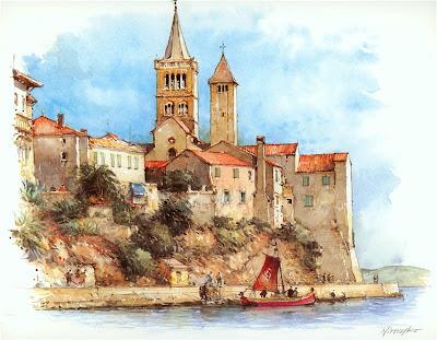Detlev Nitschke. Watercolor. Rab Island, Croatia