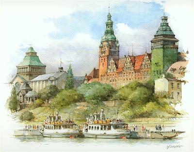 Detlev Nitschke. Watercolor. Szczecin, Poland
