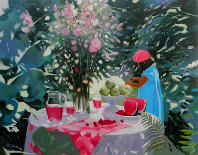 Painting by Georges Blouin. Lisa in the Garden