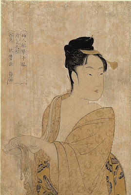 Kitagawa Utamaro. Ukiyo-e. A Young Woman Fresh From a Bath