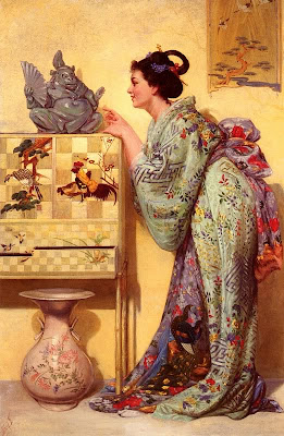 Japonisme. Paintings of Beautiful Women. Alfred Thompson.La Japonaise