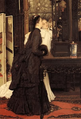 Japonisme. Paintings of Beautiful Women. James Tissot. Young Ladies Looking at Oriental Objects