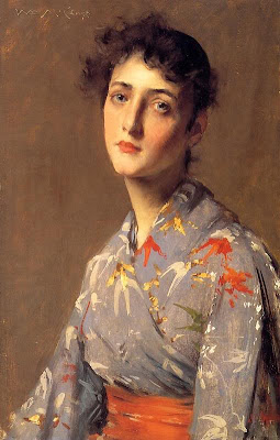 Japonisme. Paintings of Beautiful Women. William Merritt Chase. Girl in a Japanese Costume