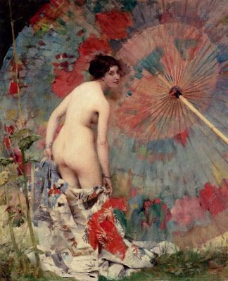 Japonisme. Paintings of Beautiful Women. Aimé-Nicolas Morot. Nude With A Japanese Umbrella