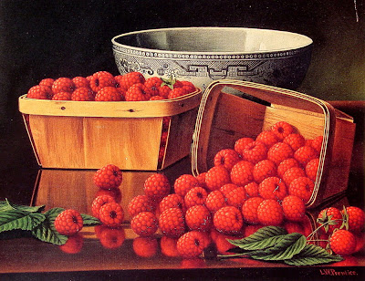 Levi Wells Prentice. American Still Life Artist. Baskets of Raspberries