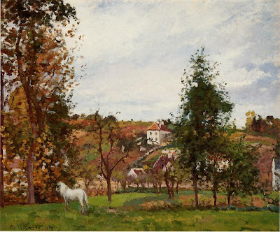 Landscape painting by Camille Pisarro. Landscape with a White Horse in a Meadow, L'Hermitage, 1872