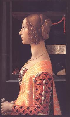 Portraits of  Women of Italian Renaissance. Domenico Ghirlandaio, Giovanna degli Albizzi Tornabuoni, 1488/ 90.<br />