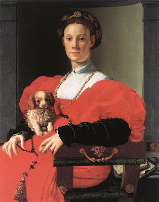 Portraits of  Women of Italian Renaissance. Agnolo Bronzino. Portrait of a Lady with Pappy
