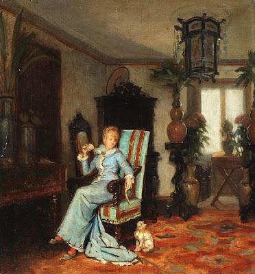 Albert von Keller. Interior scene, 1880