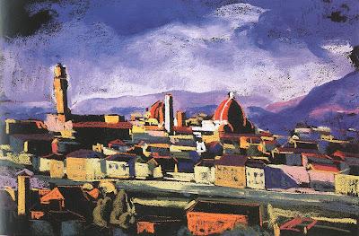 Jándi Dávid, Hungarian Artist. View of Florence, 1928