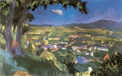 Jndi Dvid, Hungarian Artist. Nagybnya Landscape, 1926
