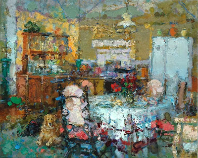 Painting by Zhang Jing Sheng. Dining Room with Pink Chair