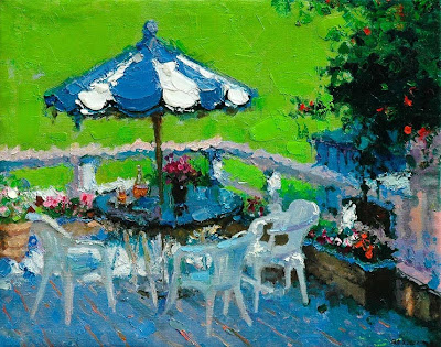 Impressionist Painting by Zhang Jing Sheng. Blue and White Umbrella