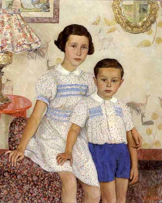 Painting by Leon De Smet. Two Children in an Interior