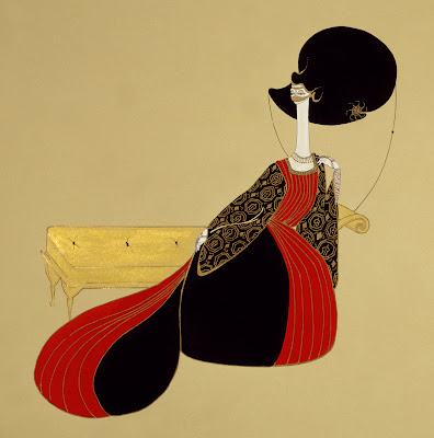 Painting by Hayv Kahraman. Red and Black on Sofa