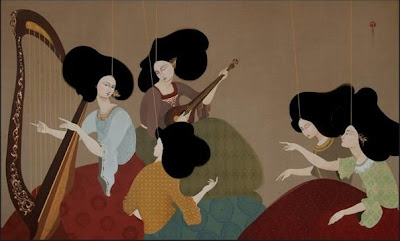 Painting by Hayv Kahraman. Domesticated Marionettes