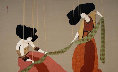 Painting by Hayv Kahraman. Folding Large Sheet