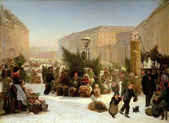 David Jacobson.Selling Christmas Tree, Christmas in painting