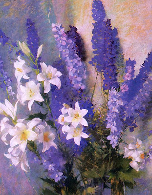 Laura Coombs Hills. Pastel Painting. Larkspur and Lilies