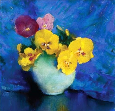 Laura Coombs Hills. Pastel Painting. Yellow Pansies