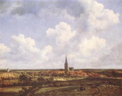 Jacob Isaackszon Van Ruisdael. Landscape with Church and village, 1665-70