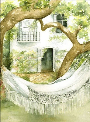 Hammock in  Painting Marie-Claire Houmeau