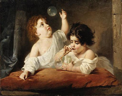 Anton Romako Austrian Artist Blowing Bubbles in Painting
