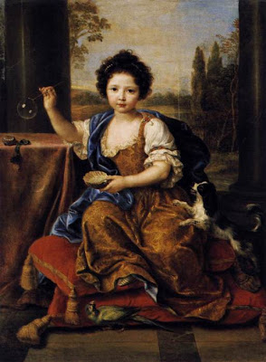 Marie-Anne de Bourbon Blowing Bubbles in Painting